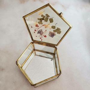 Vintage Pressed Flower Brass Trinket Jewelry Box